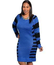 Royal & Black Sweater Dress (Plus Size)