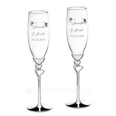 Personalized Double Hearts Glass/Aluminum Toasting Flutes (Set of 2) (118040922)