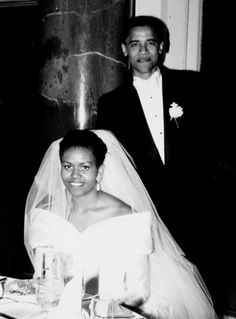 Barack Obama and Michelle Obama. Chicago wedding, October 1992.