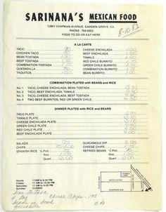1982 Vintage Menu SARINANA'S MEXICAN FOOD RESTAURANT Garden Grove California