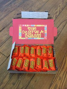 """""""You deserve a break"""" small Care Package for military or college finals - mini care package - small flat rate box (@hersheycompany Fast Break or Kit Kat) Made by @krity_cent"""