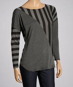color block asymmetrical Black & Gray Stripe Scoop Neck Top on #zulily! #zulilyfinds