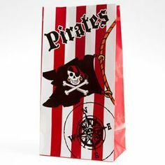 """Paper Pirate Loot Bags by Century Novelty. $2.59. Party Bags for Buried Treasure! All the young maties will love these Paper Pirate Loot Bags. Each perfect for pirate party favors and buried treasures alike. You can't go wrong with party bags like these. A dozen bags per package. 10"""" long and 5 1/4"""" wide. Black paper party bags with skull and cross bone print. These unique party supplies aren't just a great surprise for sailin' the seven seas, they are also a fun a..."""