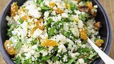 "Try this recipe for Cauliflower ""Rice"" Salad with Herbs and Dried Fruit."