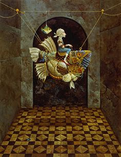 "False Magic In the fantastic world of James C. Christensen's paintings, fish are a symbol of magic and wisdom. ""Their floating presence in the air reminds us that anything is possible,"" says Christensen."