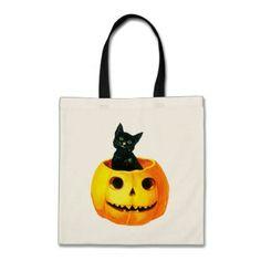 Old-fashioned Halloween Black cat on Pumpkin Tote Bag - cat cats kitten kitty pet love pussy