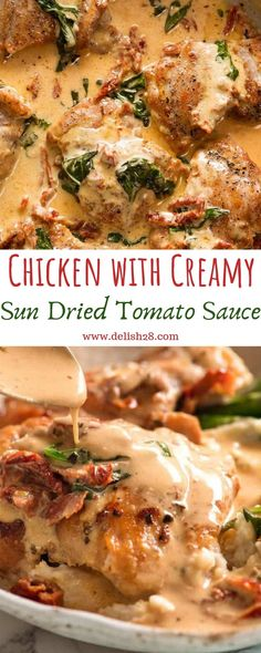 Chicken with Creamy Sun Dried Tomato Sauce - - Chicken with Creamy Sun Dried Tomato Sauce – The Effective Pictures We Offer You About p - Chicken Recipe With Sun Dried Tomatoes, Sun Dried Tomato Sauce, Creamy Tomato Sauce, Creamy Sauce For Pasta, Creamy Chicken Pasta, Sundried Tomato Chicken Pasta, Chicken With Spaghetti Sauce, Tomato Sauce Chicken, Chicken Meals