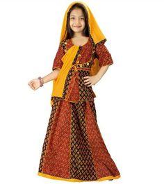 Rajasthani Kids Apparel  Colourful Bagru Lehanga Choli  Offer Price Rs.689/-