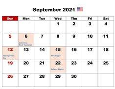 September 2021 Calendar With Holidays US, UK, Canada, Australia, India September Calendar, 12 Month Calendar, Holiday Calendar, 2019 Calendar, September Equinox, Air Force Birthday, National Grandparents Day, Islamic New Year, Constitution Day