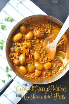 This recipe for Curry and Coconut Potatoes with Cashews & Peas is a burst of flavor in your mouth. Taste,textures and flavors will make you go for seconds! Indian Food Recipes, Asian Recipes, New Recipes, Cooking Recipes, Favorite Recipes, Ethnic Recipes, Curry Recipes, Vegetable Recipes, Vegetarian Recipes