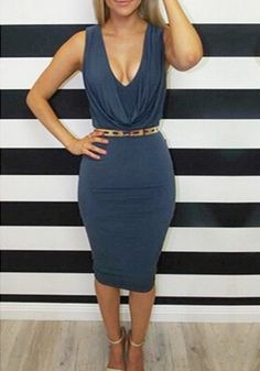Sapphire Blue Plain Draped Collar Sleeveless Fashion Midi Dress
