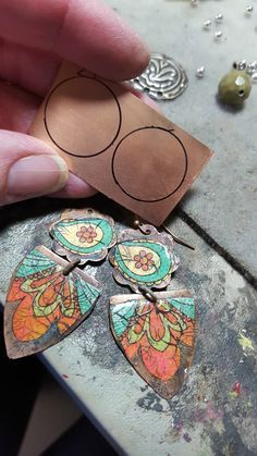 Jewelry OFF! Im just over the moon with my new paper processing technique. Ive been working on this for a while combining my painting process and a si. Paper Earrings, Paper Jewelry, Textile Jewelry, Fabric Jewelry, Enamel Jewelry, Paper Beads, Metal Jewelry, Jewelry Crafts, Jewelry Art