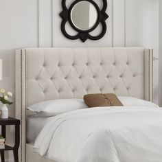 House of Hampton Grammont Tufted Upholstered Wingback Headboard Size: California King, Upholstery: Talc Bedroom Furniture, Furniture Design, Bedroom Decor, Bedroom Ideas, Bedroom Inspo, Bedroom Colors, Entryway Decor, Furniture Ideas, Teenage Girl Bedrooms