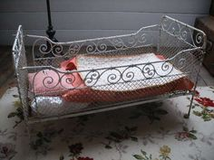 BEAUTIFUL ANTIQUE METAL DOLL BED or COT & BEDDING | for sale on eBay