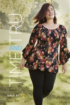 3aeac60c3e22b Match the autumn leaves this season with the Time and Tru Smocked Top. The  bold