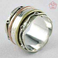 Size 8.5 US, UNIQUE DESIGN THREE TONE 925 STERLING SILVER SPINNER RING, RN4389 #SilvexImagesIndiaPvtLtd #Spinner
