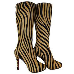 Christian Louboutin Babel Zebra Tall Boots Black/Gold Red Sole Shoes