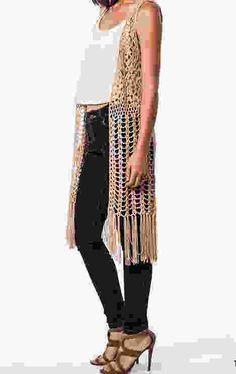 The Urban Hippie - sleeveless long Crochet Fringed Vest