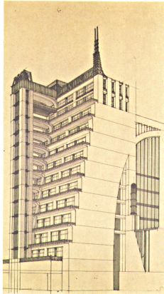 Futuristisch gebouw, mooier dan de flats doe tegenwoordig gebouwd worden, natuurlijk niet allemaal, maar wel veel.
