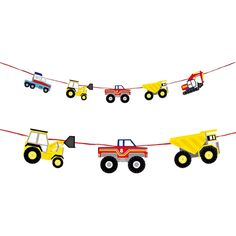 Love these trucks for the party and to use in a kids room after for wall décor!