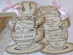 Personalised Alice in Wonderland Party in Style Vintage Shabby Chic Tea Cup Baby Shower Invitations