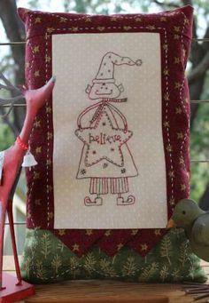 Christmas Elf Cushion pattern by Gail Pan Designs. Christmas Stitchery patchwork pattern