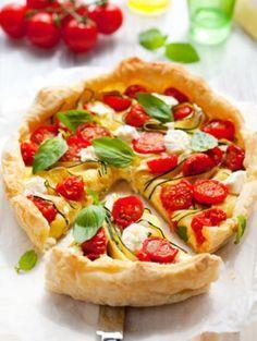 Tarte au Chavroux, tomates et courgettes