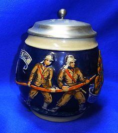 """Vintage German Tin Top Lidded Beer Stein Firefighter """"Gott zur Ehr"""""""