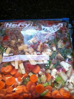 "Savory Vegetable Beef Soup.  This is a ""freeze in advance and cook in the crockpot"" recipe.  It is very yummy!  It also uses ground beef, which is more economical...and it's always good to have another ground beef recipe on hand.  This one is a keeper!  (Side note:  the recipe says to cook the beef before hand; I put it in the freezer bag raw and let the crockpot cook it and it was great; you have to use really lean meat to do it that way though)"