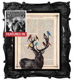 DEER with Birds- our Original Artwork - deer stag antlers dictionary antique book page deer birds art print