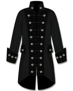 Mens Black Velvet Trim Steampunk Vampire Goth Jacket Pirate Coat #Handmade #Military