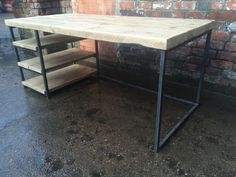 Reclaimed Industrial Chic Desk Dining Table with Storage Shelving - Bar Cafe Office Restaurant Steel Solid Wood Metal Hand Made 589 Dining Table With Storage, High Dining Table, Storage Shelves, Wood And Metal Desk, Metal Desks, Industrial Chic, Industrial Furniture, Sheffield, Handmade Desks