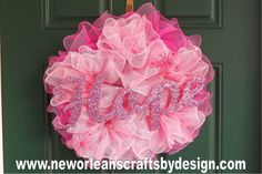Pink Breast Cancer Awareness Deco Mesh Ruffle Wreath