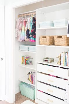 Functional and pretty IKEA kids closet organizer that is tiny but mighty for und. - Home Decor -DIY - IKEA- Before After Closet Ikea, Ikea Closet Organizer, Kid Closet, Little Girl Closet, Ikea Kids Wardrobe, Dresser In Closet, Pax Wardrobe, Room Closet, Ikea Pax