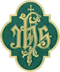 "IHS - Iota-Eta-Sigma Christogram W/ Latin Cross - Iron On Patch - Large 8""H - GR"