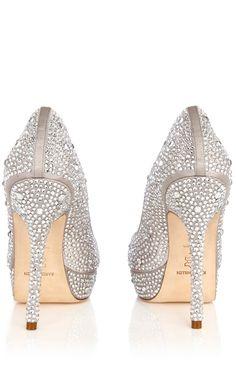 Crystal encrusted peep toes by Karen Millen.