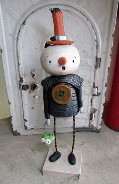 Halloween FOLK art SNOWMAN by Janell Berryman Pumpkinseeds by JanellBerryman on Etsy