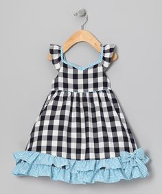 Take a look at this Navy & Blue Gingham Ruffle Dress - Infant, Toddler & Girls on zulily today!