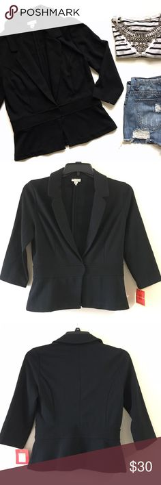 NWT Black Blazer by Isaac Mizrahi for Target This classic beauty is a must in your closet. This blazer comes in black and features a single snap button closure and 3/4 sleeves. NWT, 70% polyester, 26% rayon, 4% spandex. (Weird fact: the price tag has the size labeled as 12 but the actual size tag on the blazer is a 10) Isaac Mizrahi Jackets & Coats Blazers