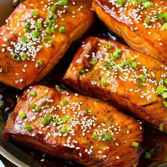 This recipe for salmon teriyaki is seared salmon fillets covered with a homemade teriyaki sauce and finished off with sesame seeds. An easy and healthy dinner that tastes like it came from a restaurant! I can't take Salmon Dishes, Fish Dishes, Seafood Dishes, Seafood Recipes, Cooking Recipes, Cooking Chef, Baked Salmon Recipes, Easy Fish Recipes, Easy Meals