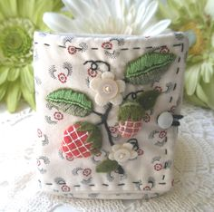 stumpwork strawberry needle case