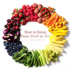 Fit Tip: How to Detox from the Inside Out I just love that beautiful picture of the circle of fruits/Veggies.I hate V8 Veggies/Fruit juice mixed yuck! #Remedies for health and Healing.