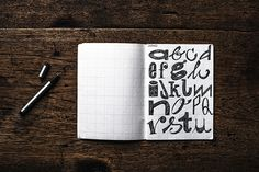 I filled this notebook continuously with handdrawn letters from A to Z.