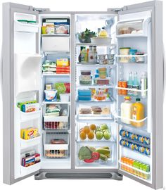 Frigidaire Counter-Depth Side by Side Refrigerator with Adjustable Glass Shelves, SpaceWise Organization System, External Ice/Water Dispenser and Humidity-Controlled Crisper Drawers