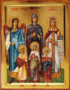 St. Sophia with her daughters Faith, Hope & Love; Archangel Gabriel; St. Theodora by Katherine Sanders
