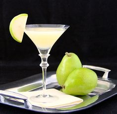 Triple Pear-tini Ingredients  2 1/2 ripe Comice pears, peeled and rough chopped (save the other 1/2 pear for garnishing) 1/4 C. sugar 1 C. pear vodka (I use Absolute) 2 oz. good pear liqueur (I used J Pear Liqueur) 2 oz. lime juice 12 ice cubes Directions  Mix chopped pears and sugar in bowl and let them sit a bit to macerate.  In blender, add all the ingredients, blend well, pour into martini glasses. Garnish with reserved, sliced pear.
