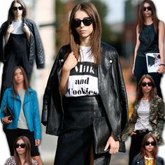A combinação de saia de couro e jaqueta de couro vai muito bem com t-shirt, mais looks de Stephanie Toms aqui