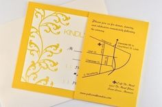 "Yellow Wedding Invitations  Great idea to print map/directions on the flap that holds RSVP card; print ""under"" the RSVP card, the venue name, phone number, wedding date and time - so guests have all the info of the day on ONE document"