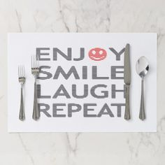 Enjoy smile laugh repeat - black and red. paper placemat - kitchen gifts diy ideas decor special unique individual customized