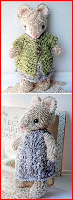 Cute Knitted Mouse - Knitting Pattern - knitting is as easy as 3 That . Cute Knitted Mouse – Knitting Pattern – knitting is as easy as 3 Knitting boils down to t Animal Knitting Patterns, Crochet Patterns, Knitted Toys Patterns, Doll Patterns, Free Knitting, Baby Knitting, Knitting Toys, Beginner Knitting, Knitting Stitches
